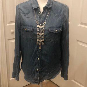 American Eagle Vintage Boyfriend denim blouse